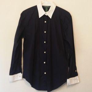 RALPH LAUREN Navy & White Button Up Collard Shirt